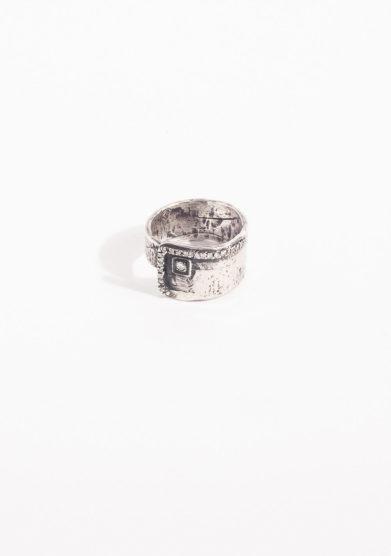 CREPUNDIA - Anello fascia in argento brunito e diamante