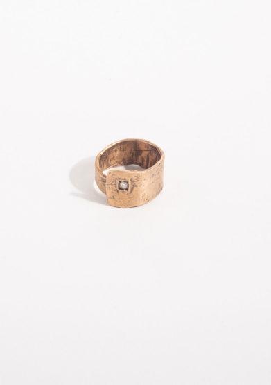 CREPUNDIA - Anello fascia in bronzo e diamante