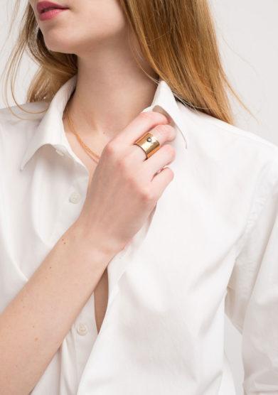 CREPUNDIA - Anello fascia con brillante in bronzo