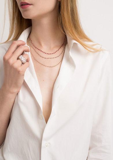 Collana rosario in argento brunito e labradorite
