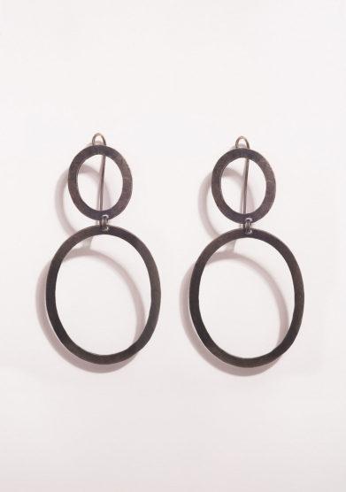 CREPUNDIA - Orecchini pendenti in argento brunito