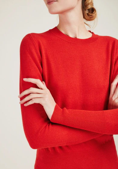 ALYKI - Ultra soft red cashmere crewneck sweater