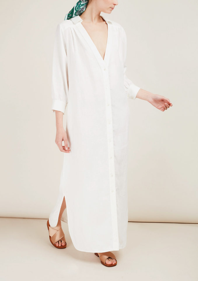 CAFTANII FIRENZE - Celine linen white kaftan dress