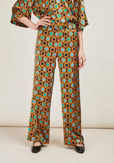 LEIME - Pantaloni a palazzo a stampa in seta
