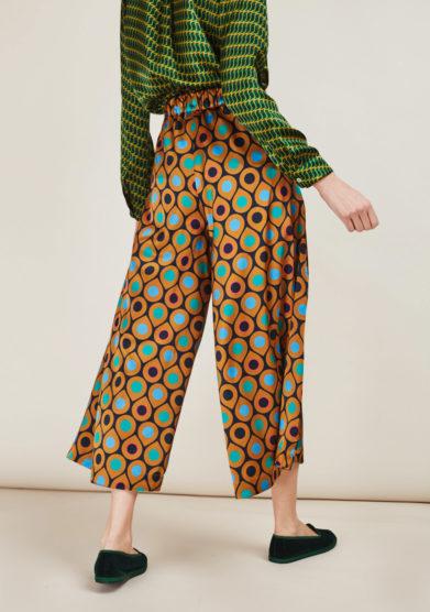 LEIME - Pantaloni culottes a stampa in seta