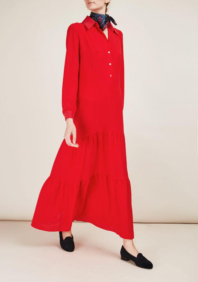 SAN FELICE CASHMERE - Abito chemisier in seta rossa