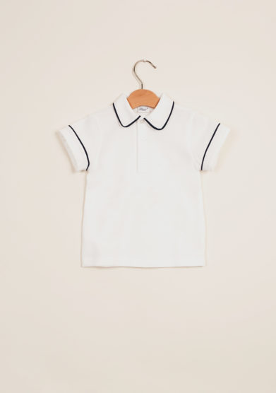 BARONI - Boy's polo shirt with blue trim