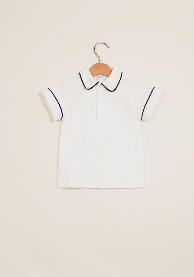 BARONI - Boy's polo shirt with blue trim