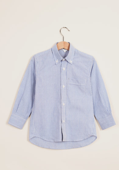 BARONI - Button-down striped cotton shirt