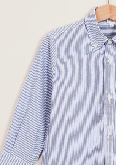 BARONI - Button-down striped cotton shirt