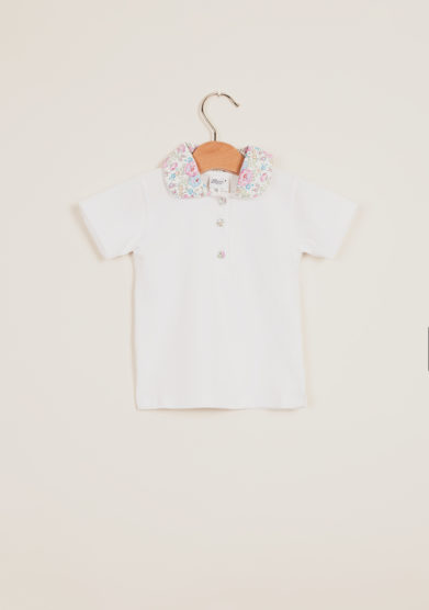 BARONI - Girl's polo shirt with floral-print collar