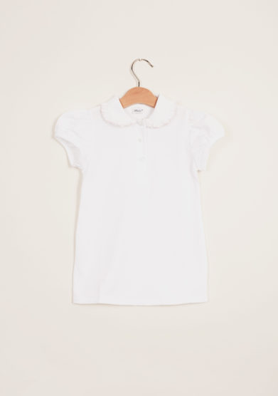 BARONI - Girl polo shirt with pink scalopp-trim collar
