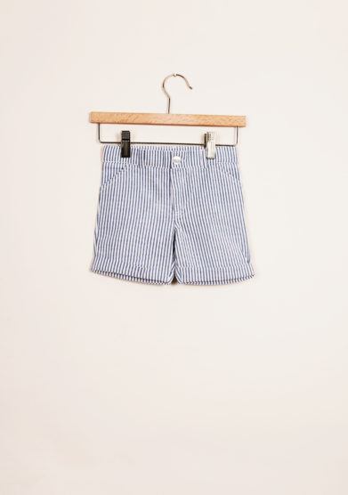 BARONI - Boy's striped light blue bermuda shorts