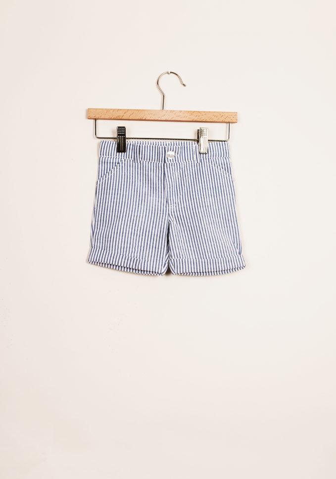 BARONI - Boy's striped light blue bermuda shorts