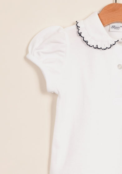BARONI - Girl polo shirt with scalopp-trim collar