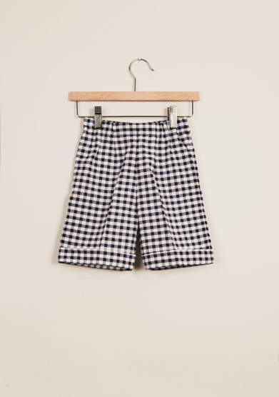 BARONI - Boy's gingham bermuda shorts and polo set