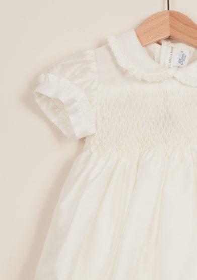 BARONI - Abito neonata da cerimonia punto smock