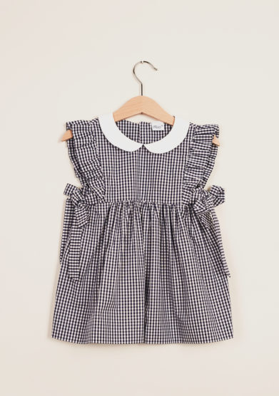 BARONI - Girl's Vichy checked dress with frills