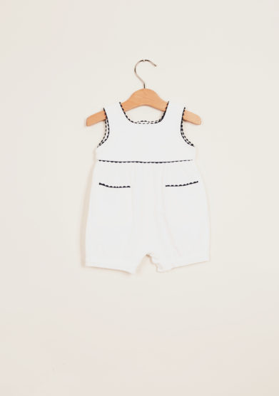 BARONI - Cotton romper suit with contrasting trim