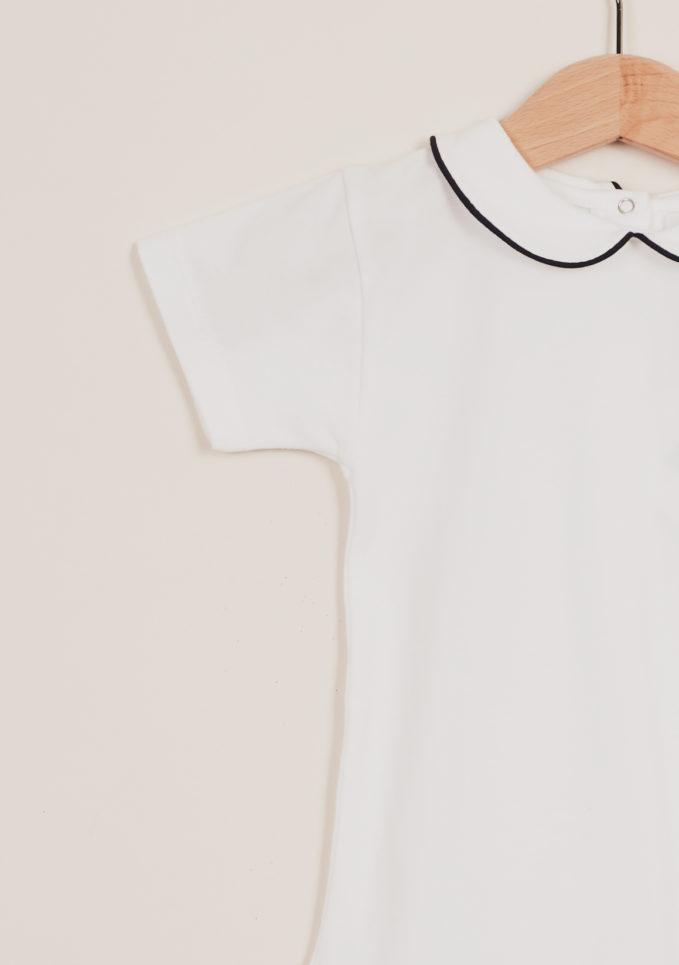 BARONI - Body bebè in cotone con ricamo colletto