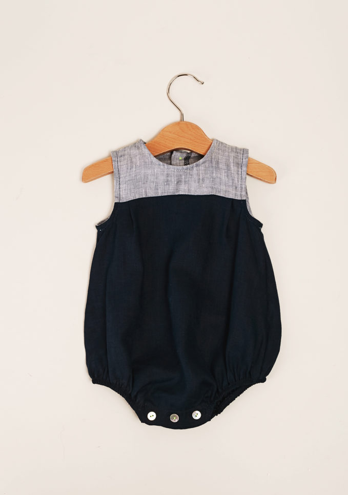 DEPETIT - Blue and light blue linen romper