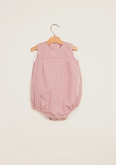 DEPETIT - Girl's cotton gingham romper