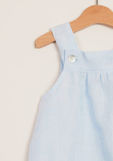 DEPETIT - Boy's light-blue linen romper
