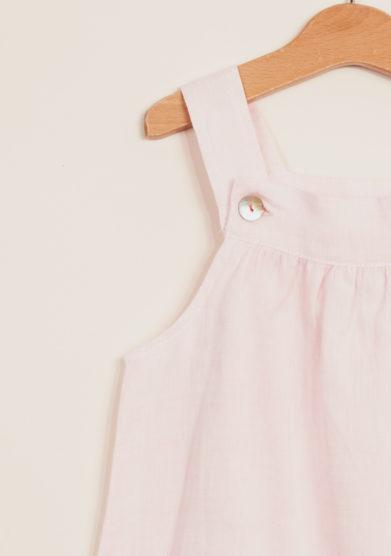 DEPETIT - Girl's pink linen romper