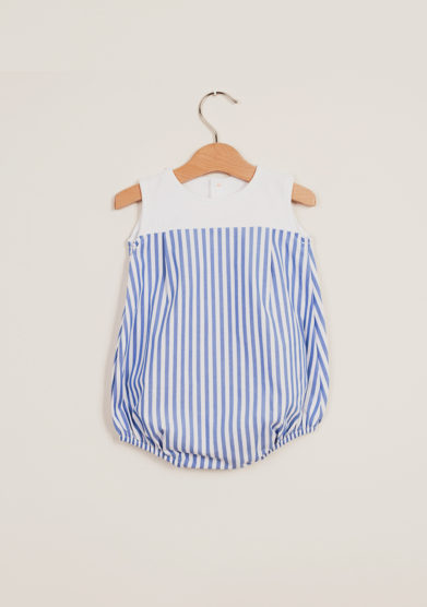 DEPETIT - Cotton blue striped romper