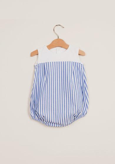 DEPETIT - Cotton blue striped romper