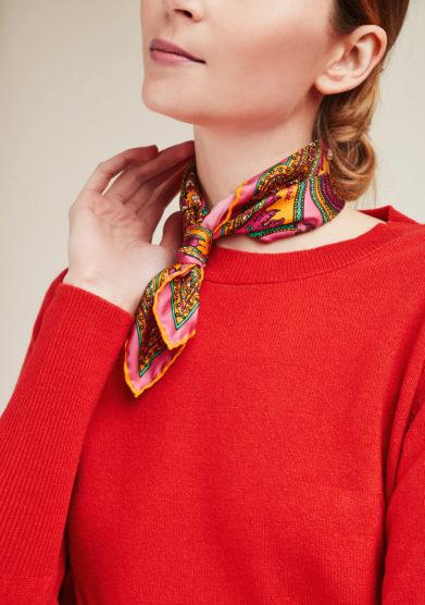 SERA' FINE SILK - Foulard in seta con stampa paisley rosa