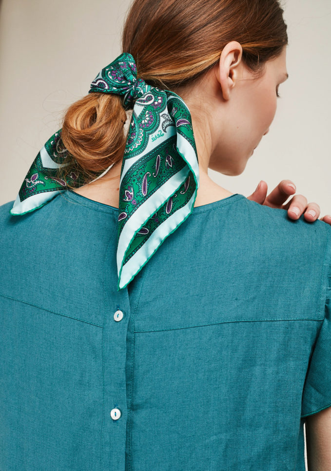 SERA' FINE SILK - Foulard in seta con stampa paisley verde