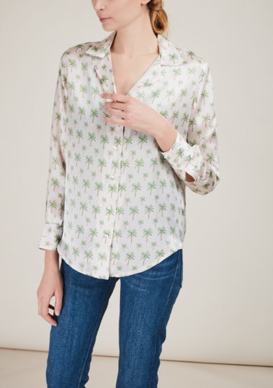 DALWIN DESIGNS - Palm tree printed silk shirt jacket