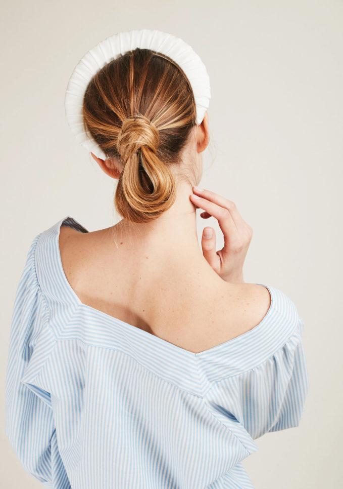 BLUETIFUL - Cerchietto in raso di cotone bianco