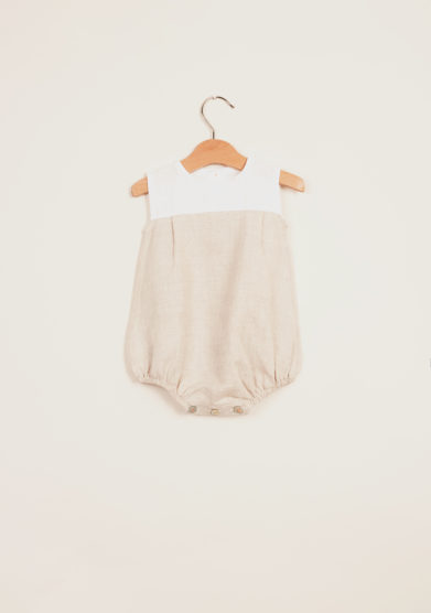 DEPETIT - White and beige linen romper