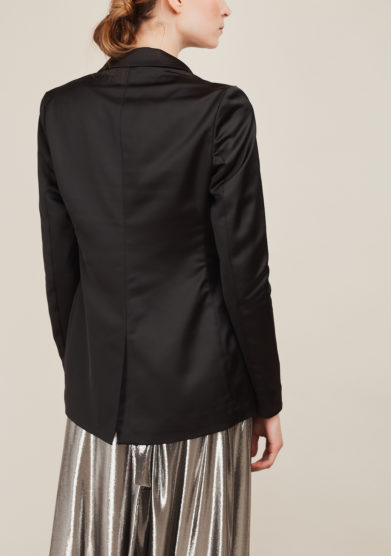 NASCO UNICO - Black satin tailored blazer
