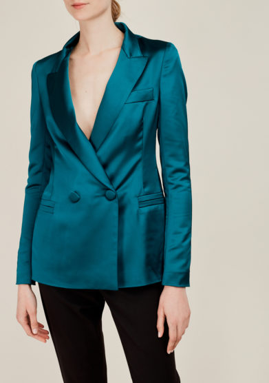 NASCO UNICO - Blue-green satin tailored blazer