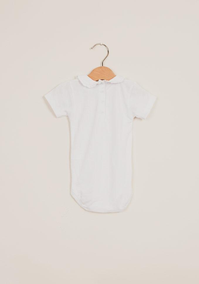 BARONI - Body neonata in cotone con colletto petalo