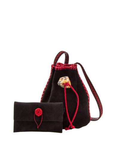 IACOBELLA - Medium Nirmala black eclipse bucket bag in suede