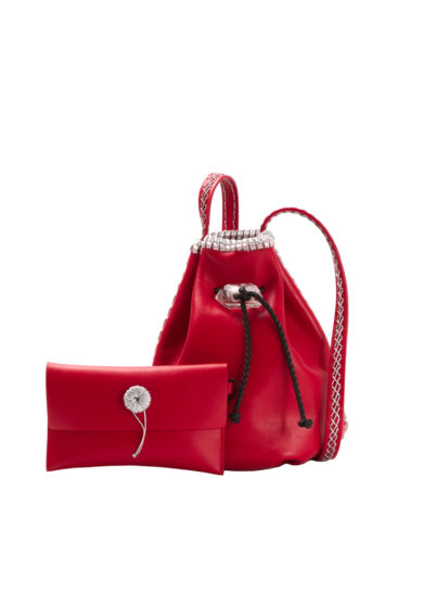 IACOBELLA - Small Nirmala ruby red bucket bag in leather