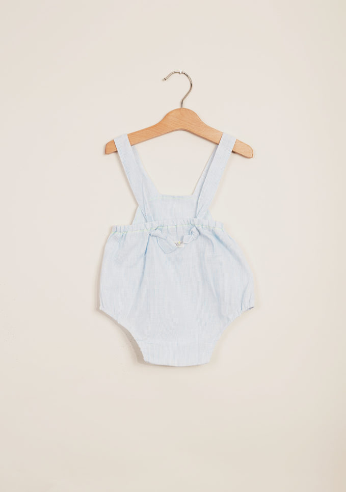 DEPETIT - Light blue striped linen romper
