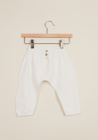 DEPETIT - Baby linen pants in white