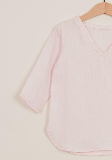 DEPETIT - Girl's pink linen blouse
