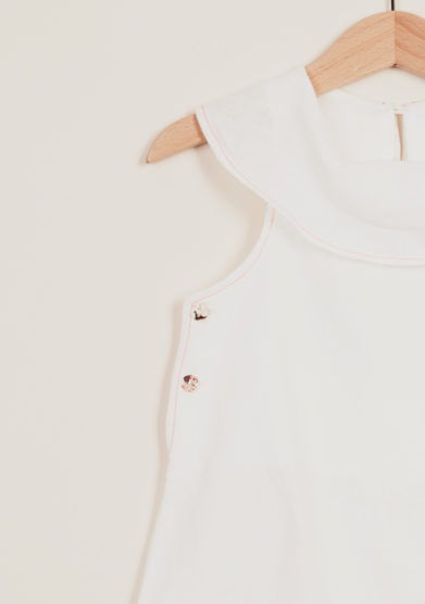 DEPETIT - White linen romper with big collar