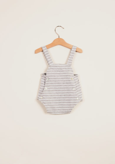 DEPETIT - Grey striped cotton romper
