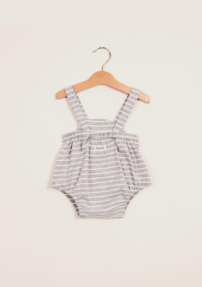 DEPETIT - Grey striped cotton romper