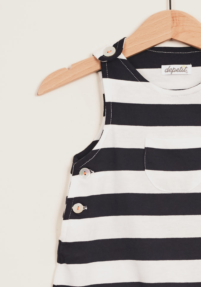 DEPETIT - Blue striped cotton romper