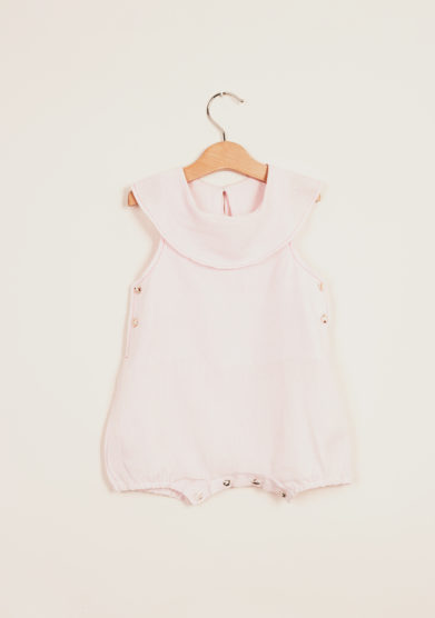 DEPETIT - Pink linen romper with big collar