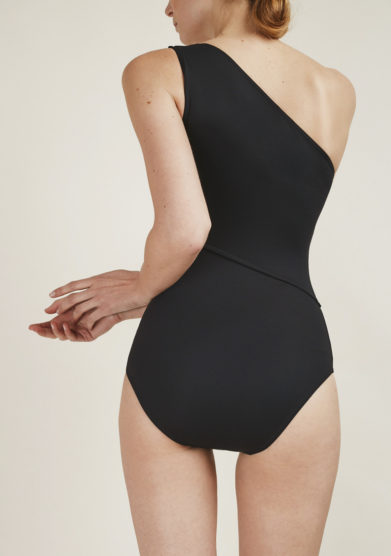 SOLOBLU - Black one-shoulder swimsuit