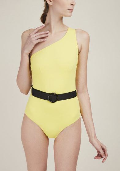 SOLOBLU - Yellow one-shoulder swimsuit